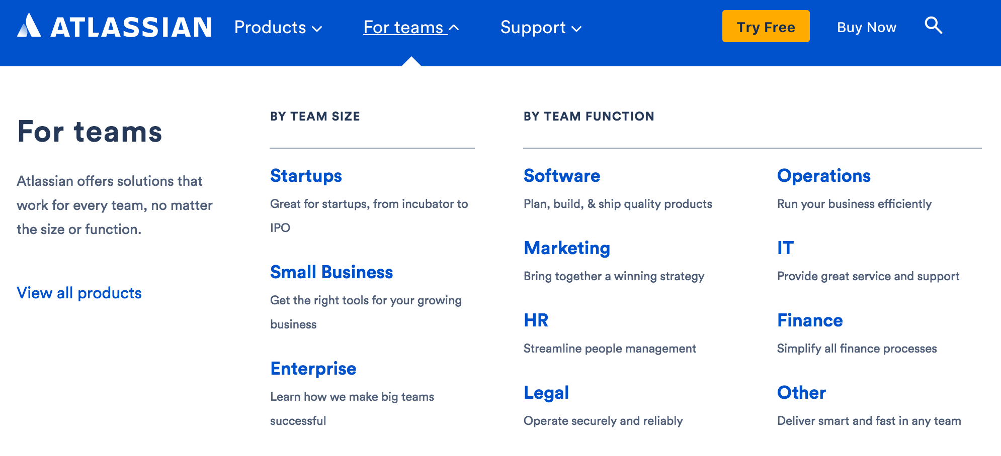 Example of SEO Solution Pages by Atlassian
