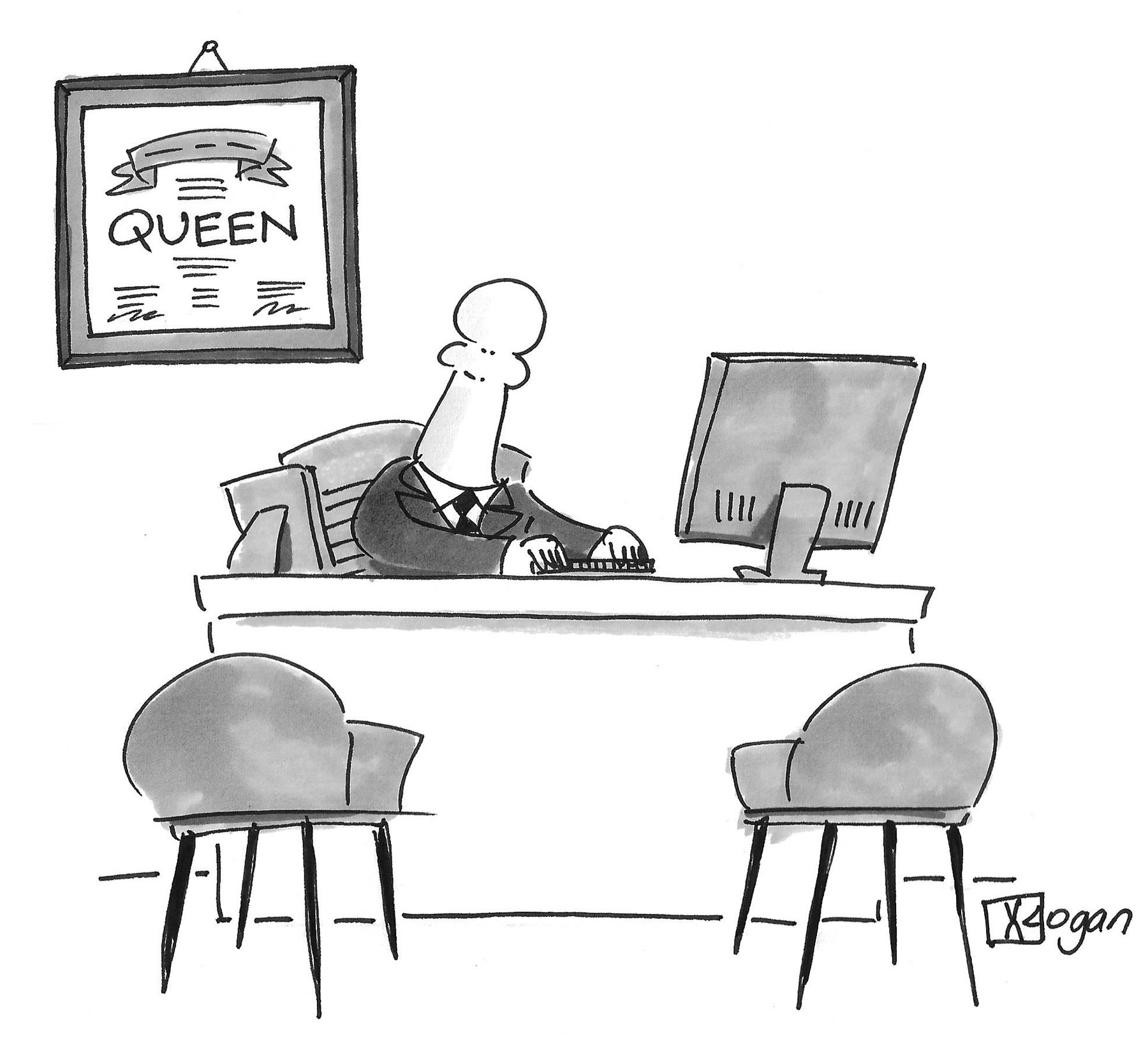 (An office pawn has a 'Queen' certificate on its wall.)