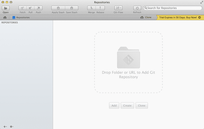 Screenshot of No repositories in Tower 2 for Mac
