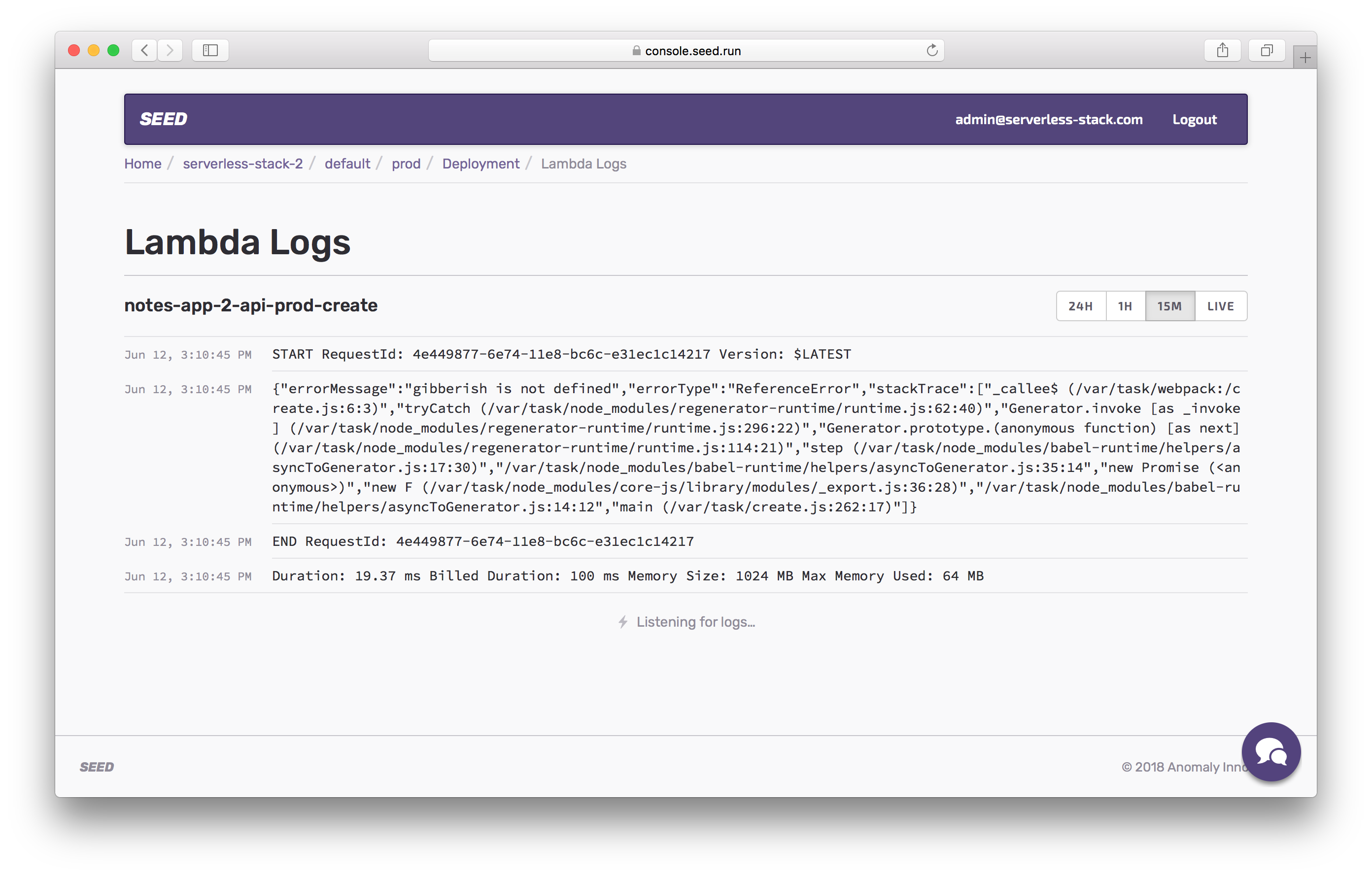 View lambda logs in prod screenshot