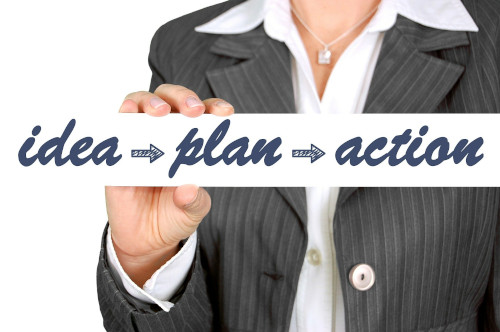 Consulting image showing idea plan action flow