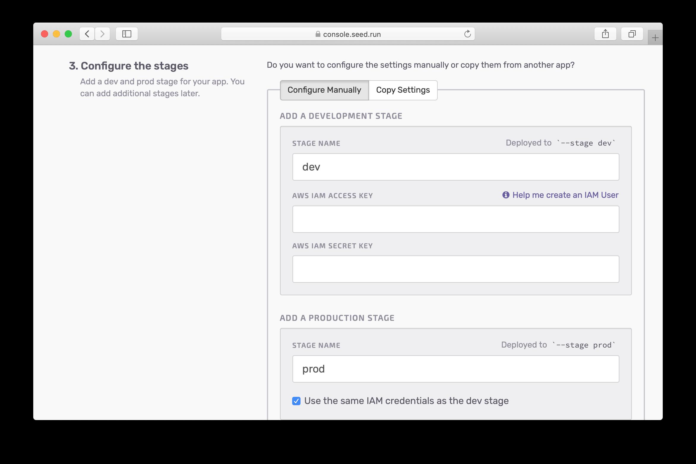 Click the help me create an IAM user link screenshot