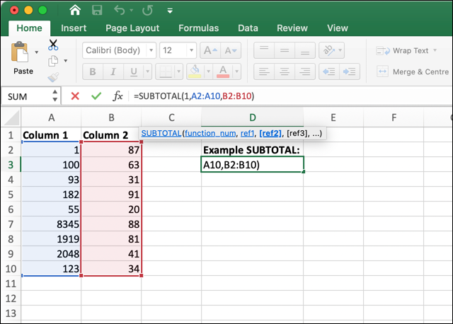 A Microsoft Excel worksheet showing the SUBTOTAL function in usage
