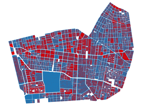 Multiple city blocks randomized in one commune (Ñuñoa)