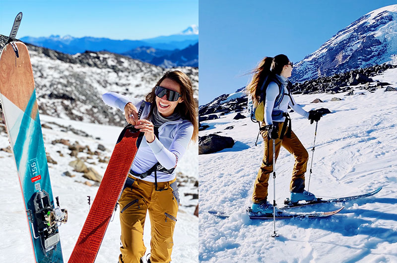 (Left) Skinning up skis and hiking on Rainier. (Right) Skinning up mountain on skis.