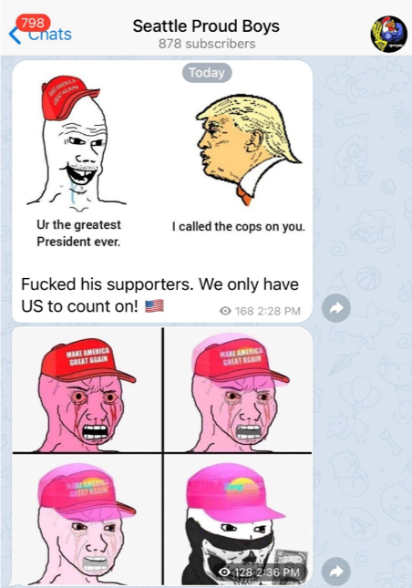 Meme on the Proud Boys Seattle Telegram depicting a Trump supporter turning into a neo-Nazi accelerationist wearing a half-skull mask popularized by Atomwaffen.