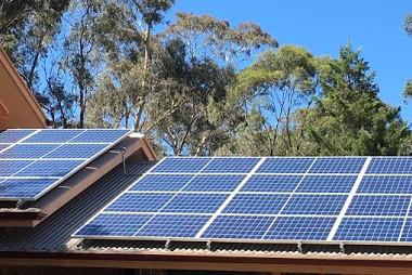 Solar panels on residential roof