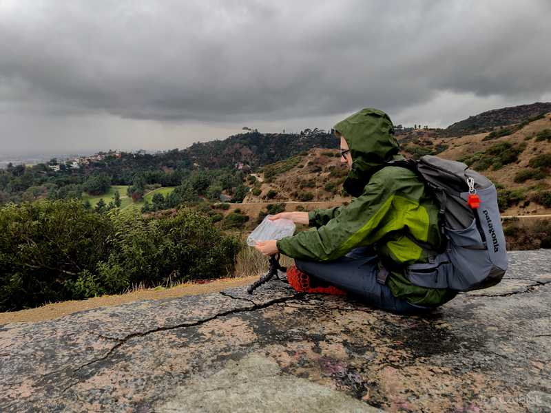 Joe Czubiak taking timelapse from Griffith Park during a storm
