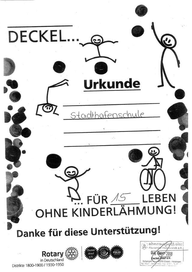 Urkunde Deckel gegen Polio 01.12.2018