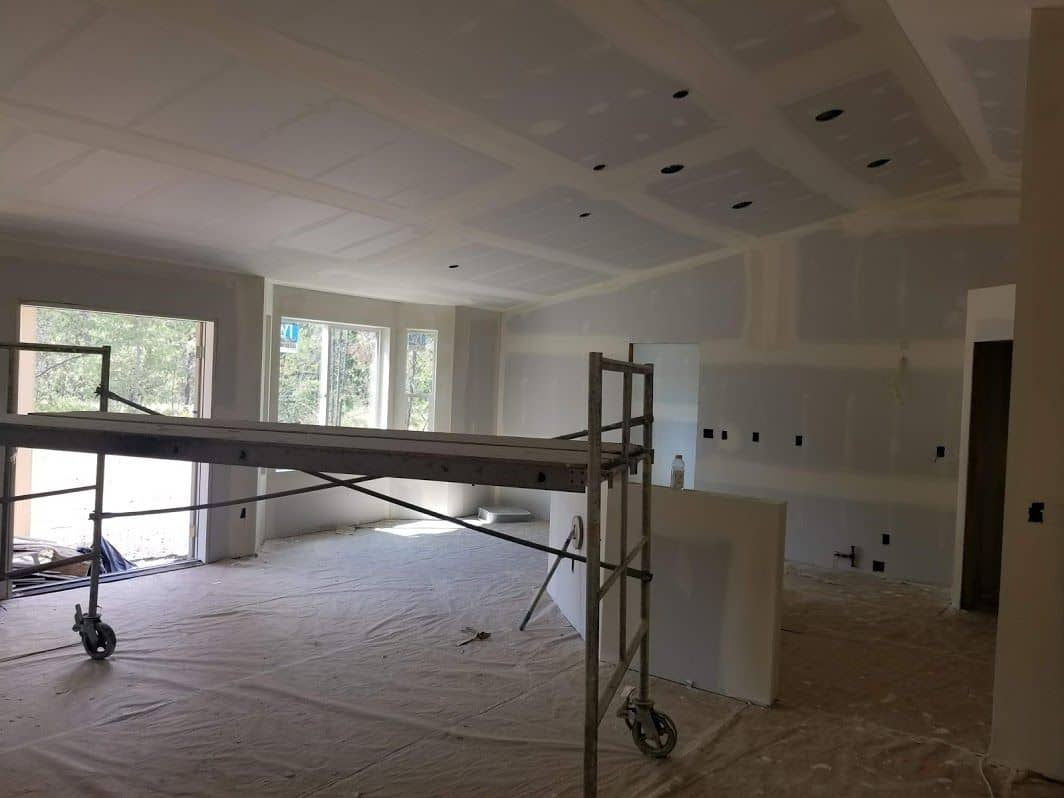 enlarged photo of new drywall installation completed