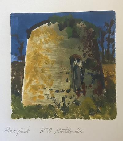 monoprint of Martello Tower