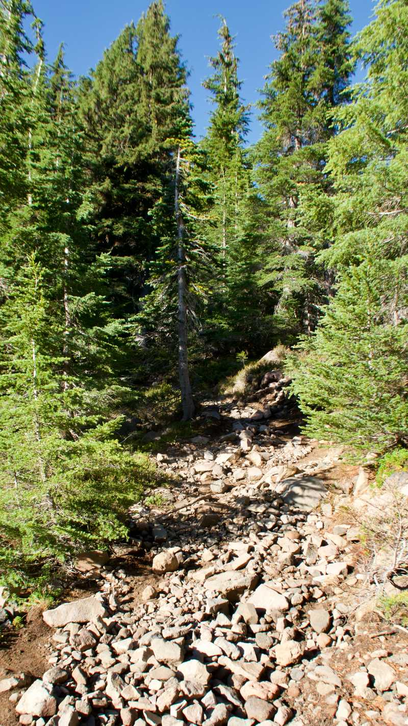 Rock-covered climb up Devils Peak
