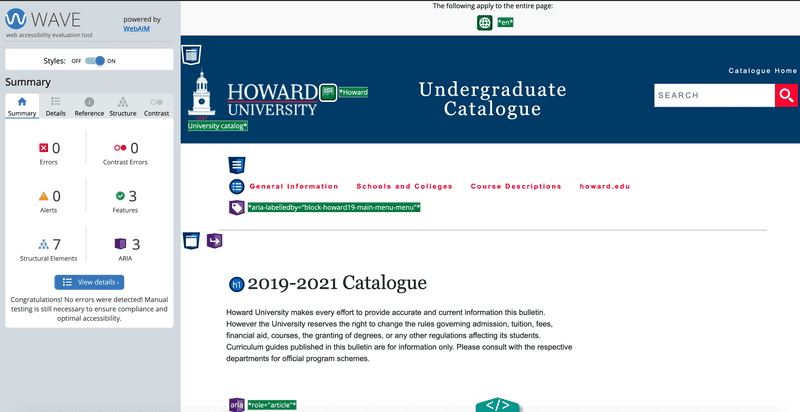 WAVE accessibility audit applied to Howard University Catalog
