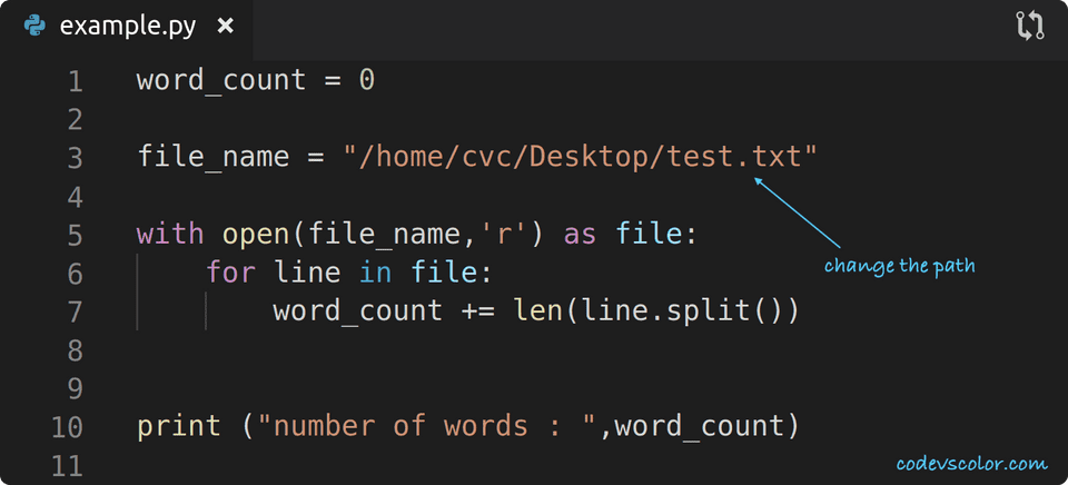 python count words in file