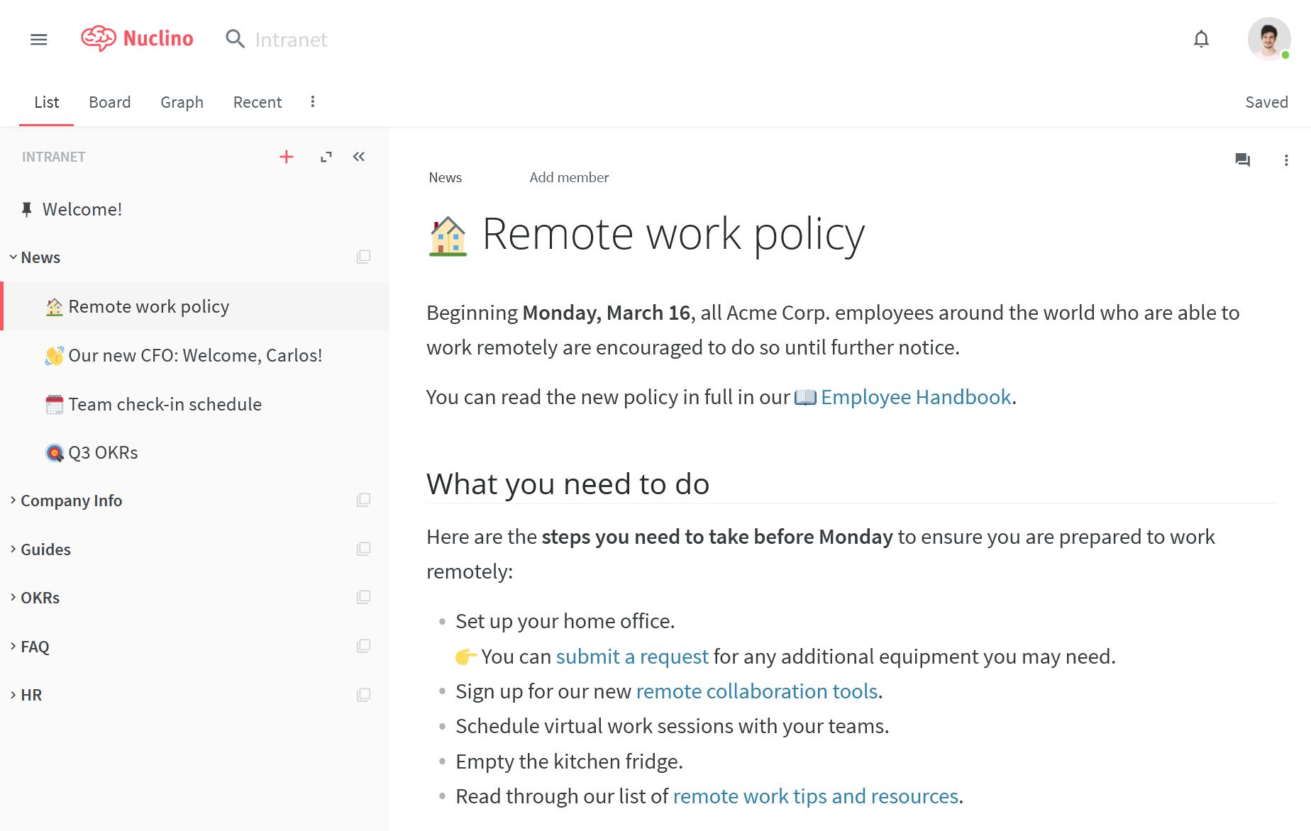 Company intranet portal example