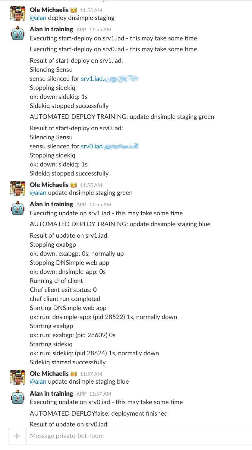 Screenshot showing the old manual deploy in Slack