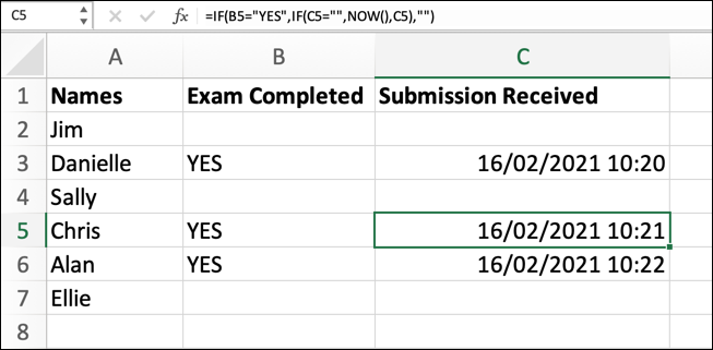 """An Excel spreadsheet with three column headings: Names, Exam Completed, and Submission Received. Through the help of a circular reference formula, the value """"YES"""" has been entered into three cells under the """"Exam completed"""" column and, in the respective """"submission received"""" column, dates have been entered."""