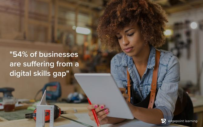 54% of businesses are suffering from a digital skills gap