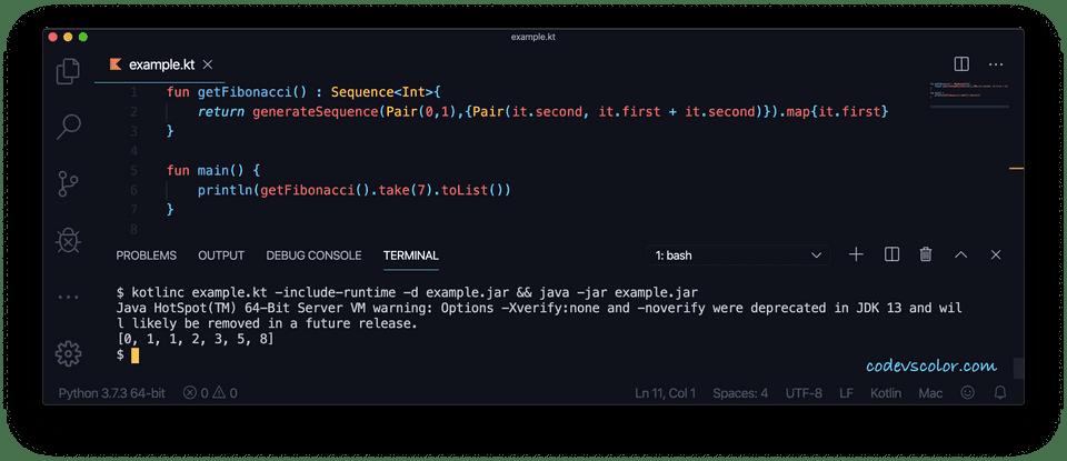 Kotlin print Fibonacci generatesequence