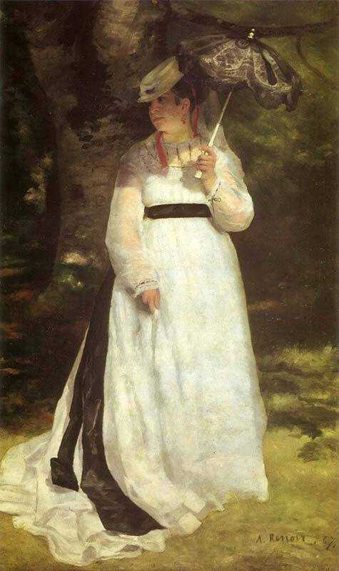 Renoir's muse and girlfriend was Lise Trehot. This painting of her with a parasol was accepted by the Salon in 1868 and received positive reviews.