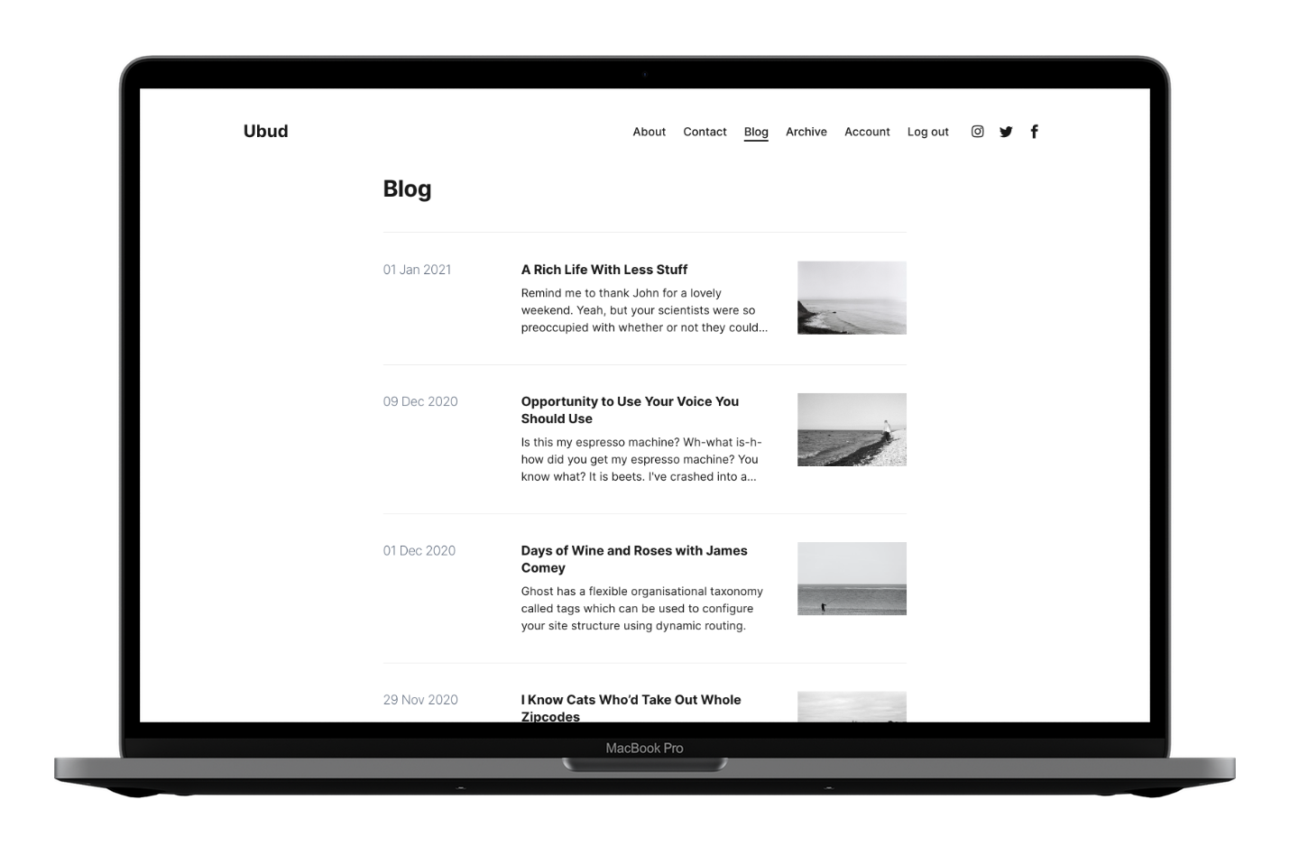 Ubud Ghost CMS Theme Blog Page