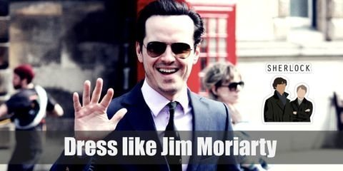 the fan favorite Jim Moriarty costume is his signature navy-blue, slim-fit suit composed of a two-button jacket and tampered pants
