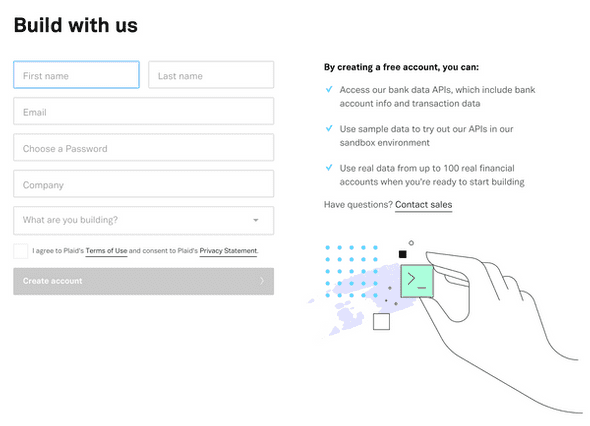 Plaid's signup page explains the integrations users get with their service.