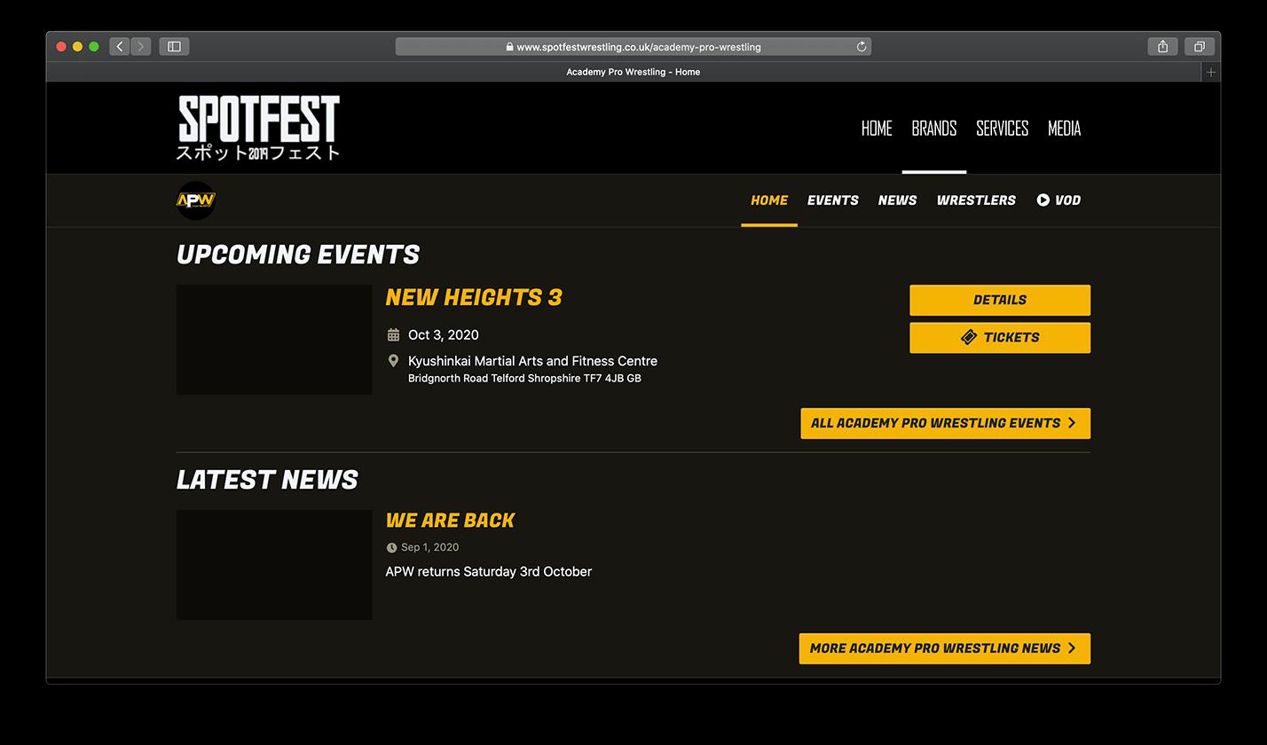 Academy Pro Wrestling website screenshot
