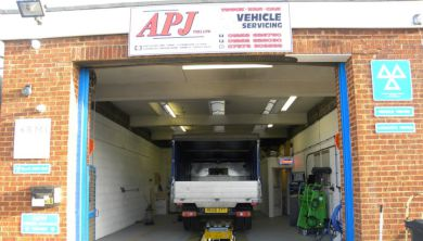 A large truck inside our MOT bay