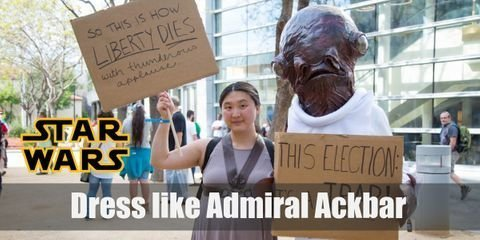 The most important thing in cosplaying Admiral Ackbar is to find its recognizable mask, characterized by large fish-like eyes. Other pieces of the costume shouldn't be so difficult to find. This character wears a classic Star Wars military uniform.