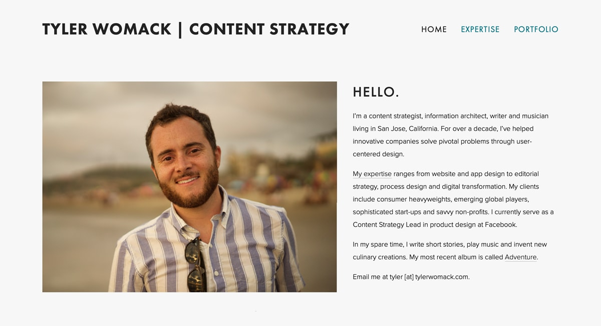 Screenshot of Tyler Womack's UX writing portfolio landing page. Features a picture of the author on the left and a brief welcome note on the right.