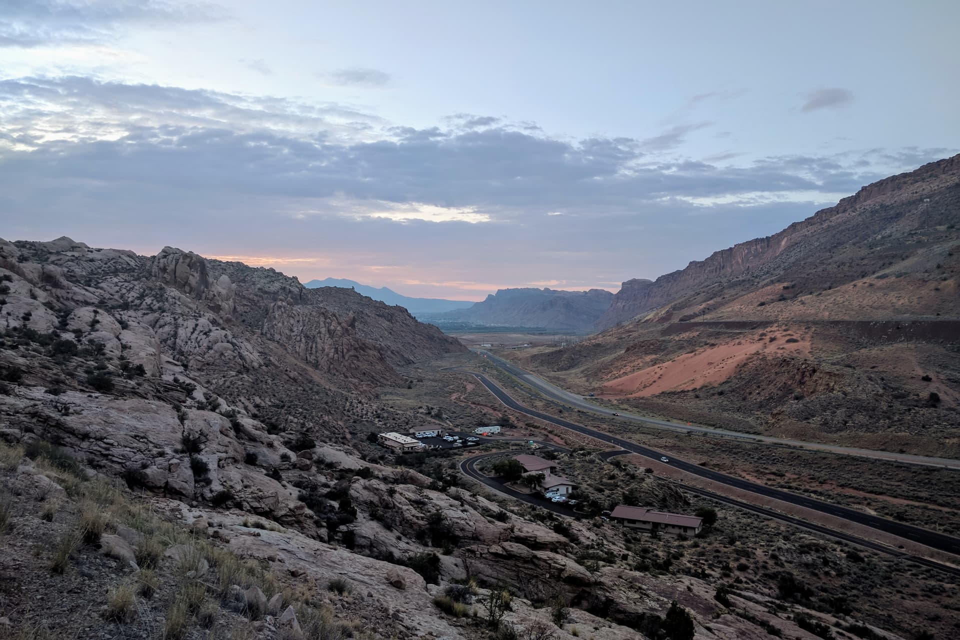 Looking back towards the Arches National Park visitors' center and the main road into Moab just after dawn.