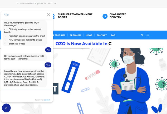 OZO life covid-19 online test bot