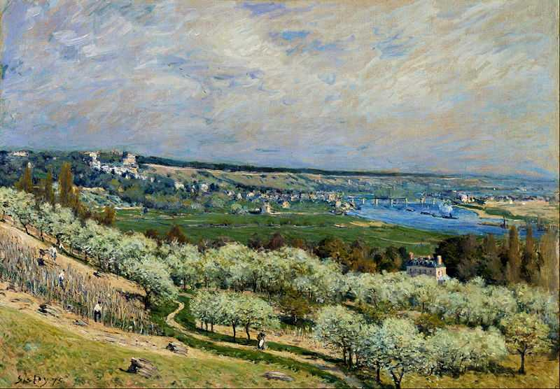 'The Terrace at Saint-Germain', painted by Alfred Sisley in Spring, 1875, The Walters Art Museum