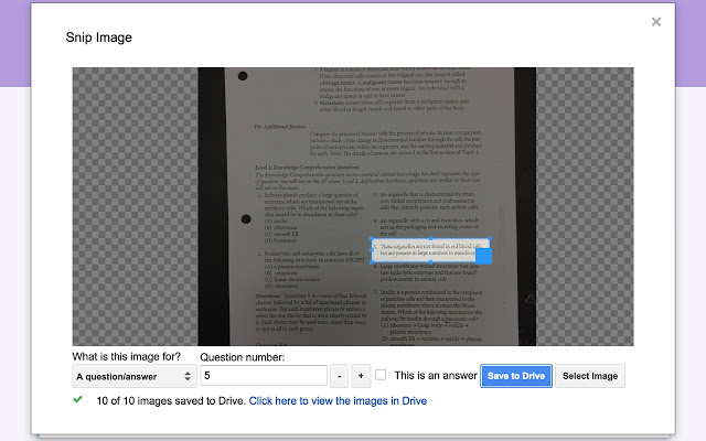 Screenshot of the Snip tool. One question is highlighted by a rectangle in order to be snipped.