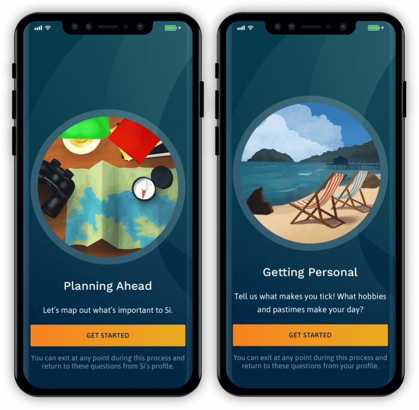 Illustrations in Naveon's mobile app