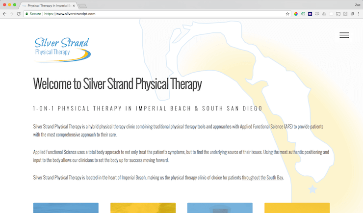 silver strand physical therapy website screenshot