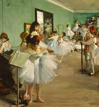 Degas' The Dance Class is one of numerous works depicting behind-the-scenes action at the Paris Ballet