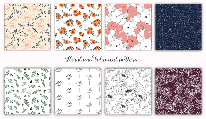 a collection of floral and botanical patterns made for Graphic Pear. All the elements are hand drawn. item thumbnail