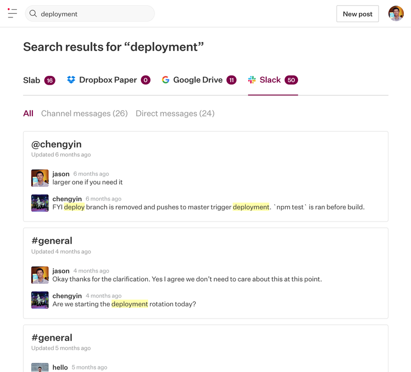 Search Slack messages from Slab