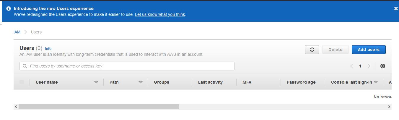 AWS IAM Users page