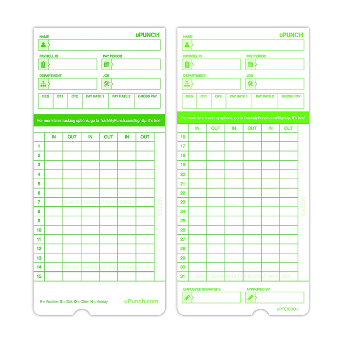 HN3000 Time Cards (100 Pack)