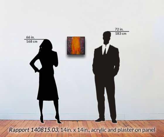 acrylic, plaster on wood panel, 14 in. x 14 in. (36 cm x 58 cm)