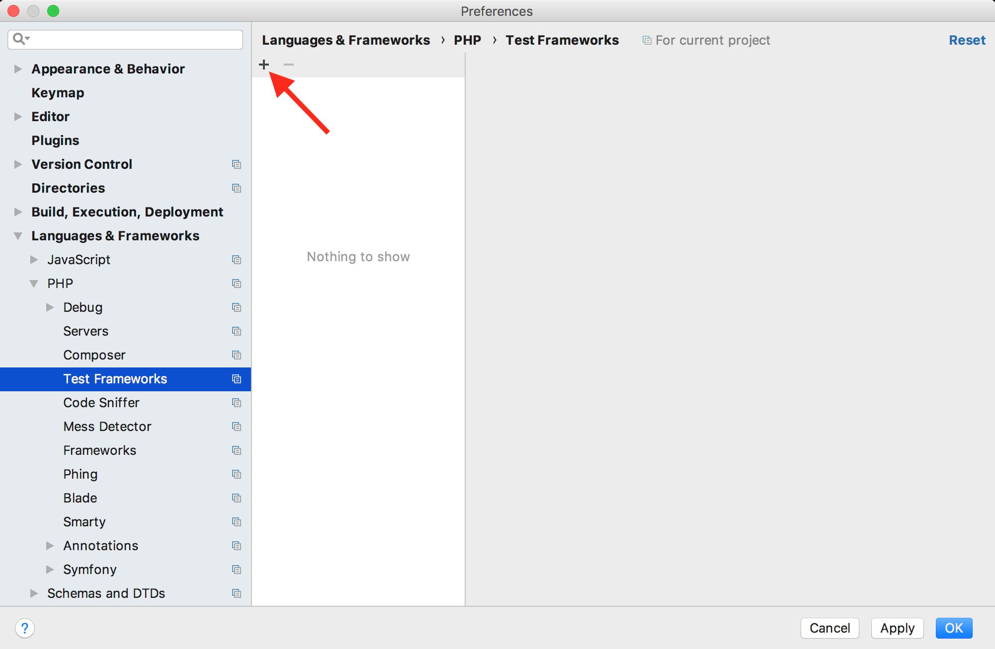 Adding a new test framework (PHPUnit) in PHPStorm