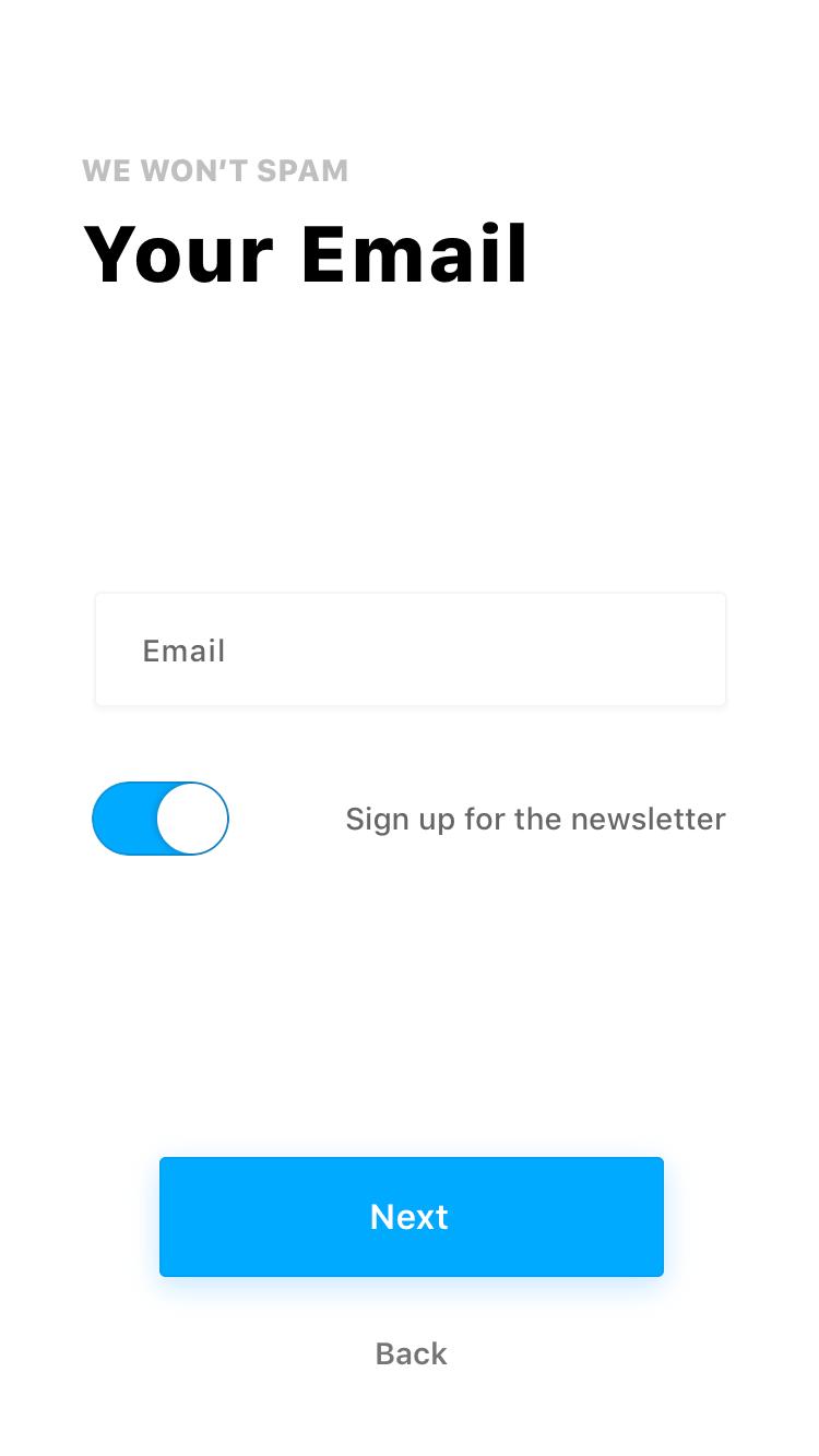 Fiber UI Kit: toggle active state screen