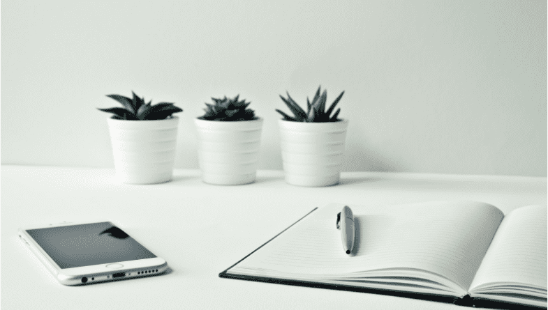 A white desk with white flower pots containing cacti, a phone and an open notebook with a pen on top.