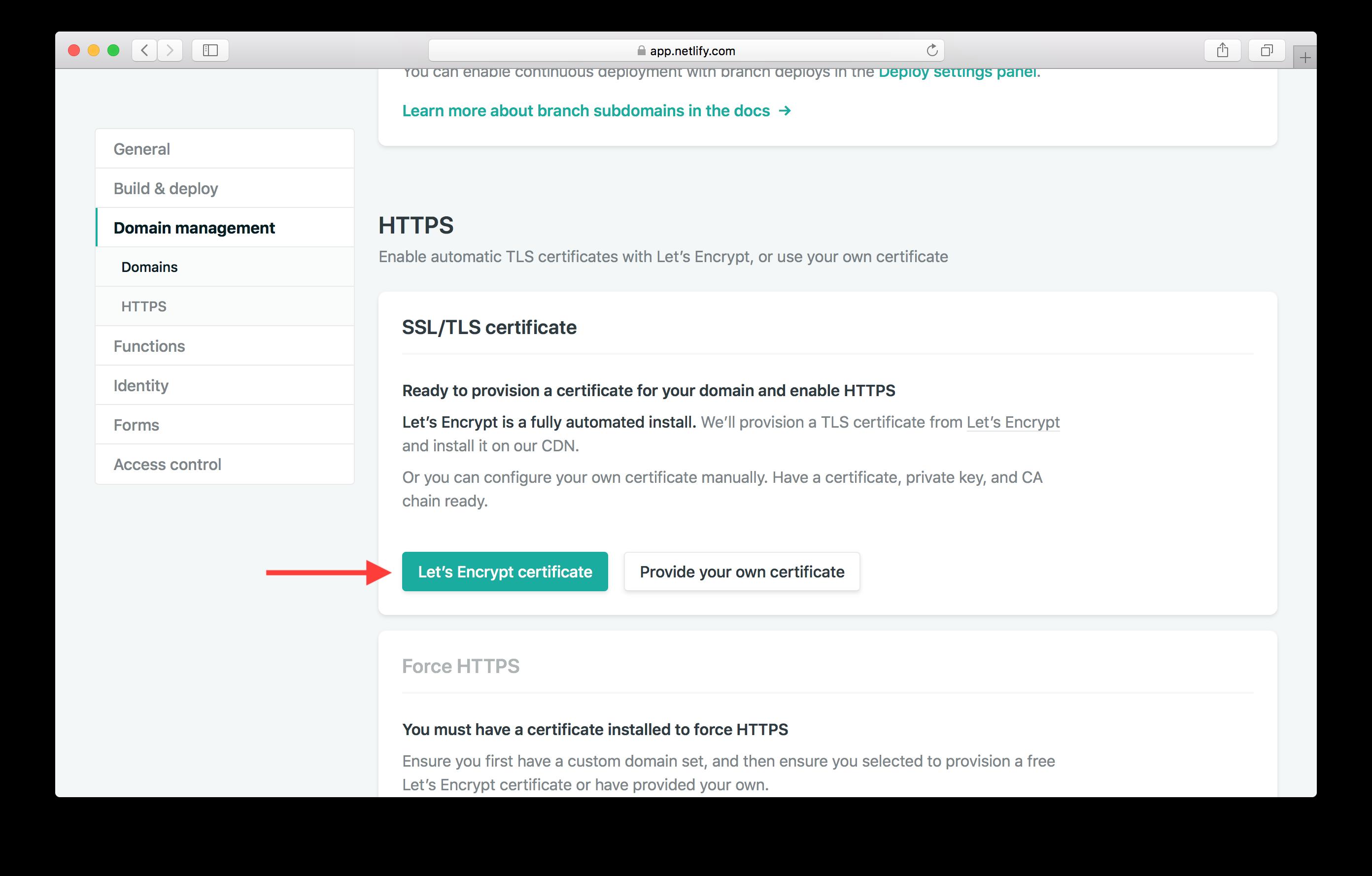 Setup Let's Encrypt Certificate screenshot