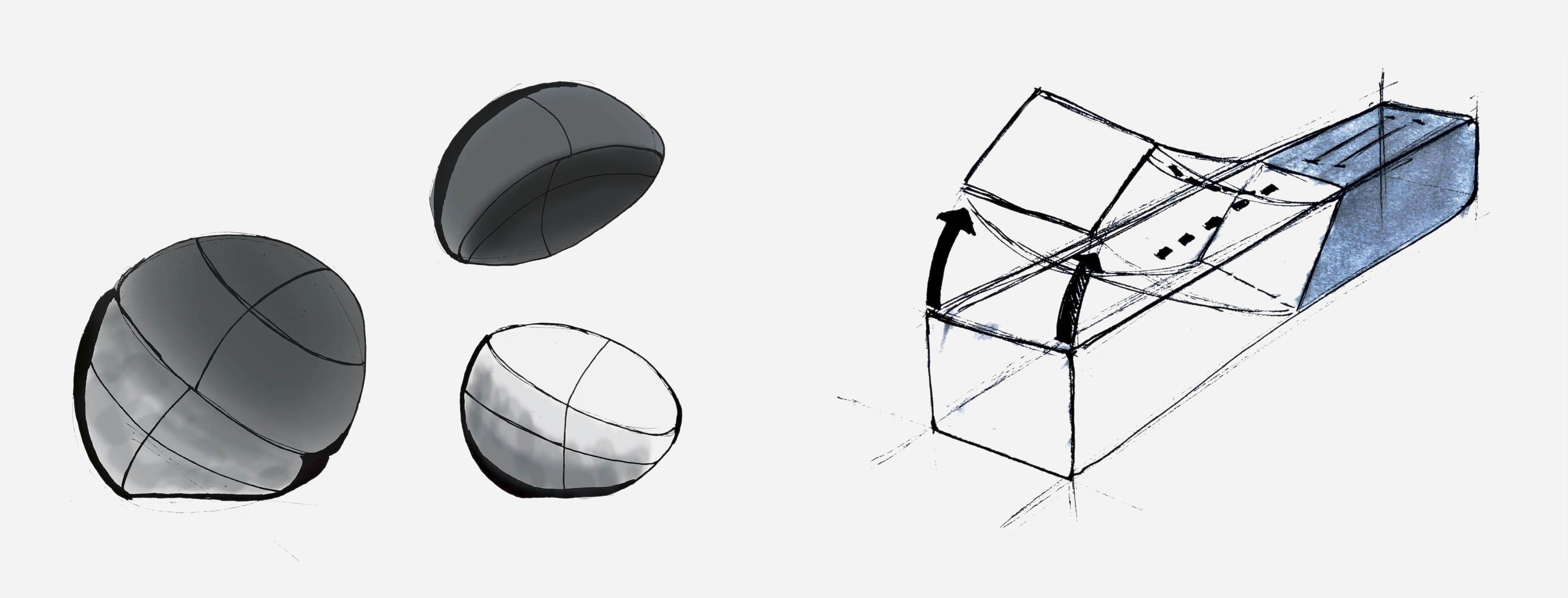 Circular Instrument, with 2 hemispheres separating'