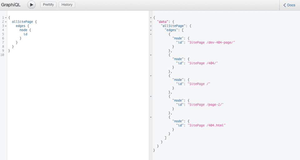 GraphiQL query for allsitepages