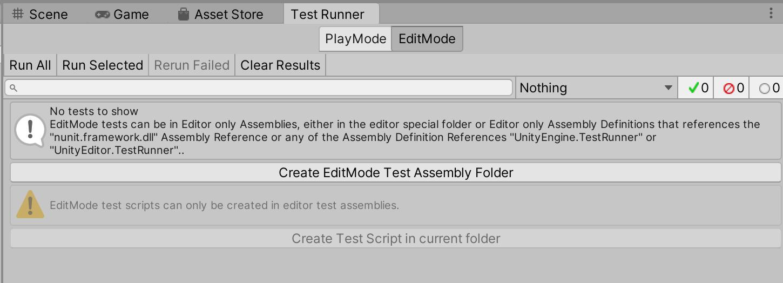 Unity TestRunner Create Folder And Assembly